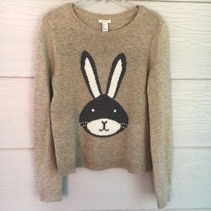 Forever 21 Bunny Face Long Sleeve PullOver Sweater